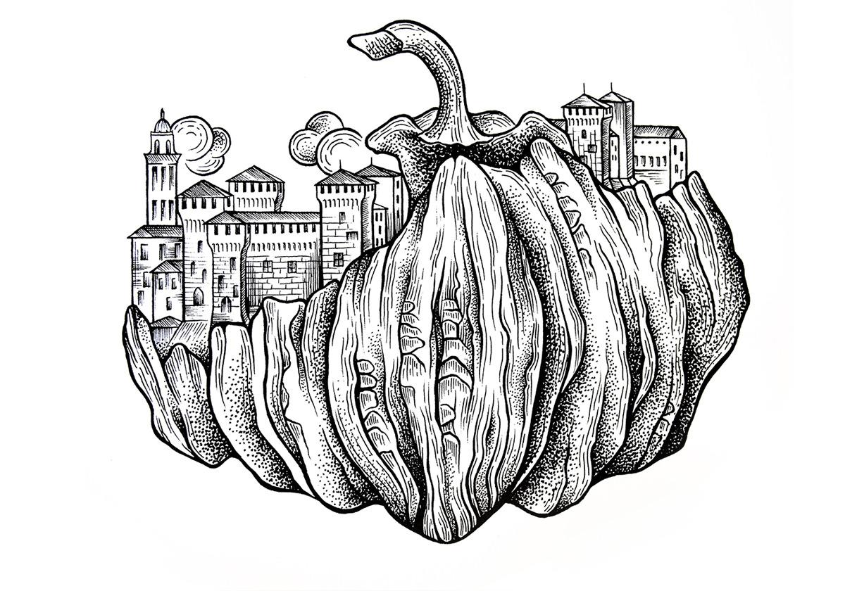 Pumpkin's Land Illustration Digital Painting Environment